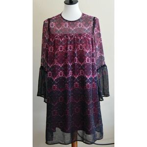 Nanette Lepore floral Boho Sheer peasant Dress